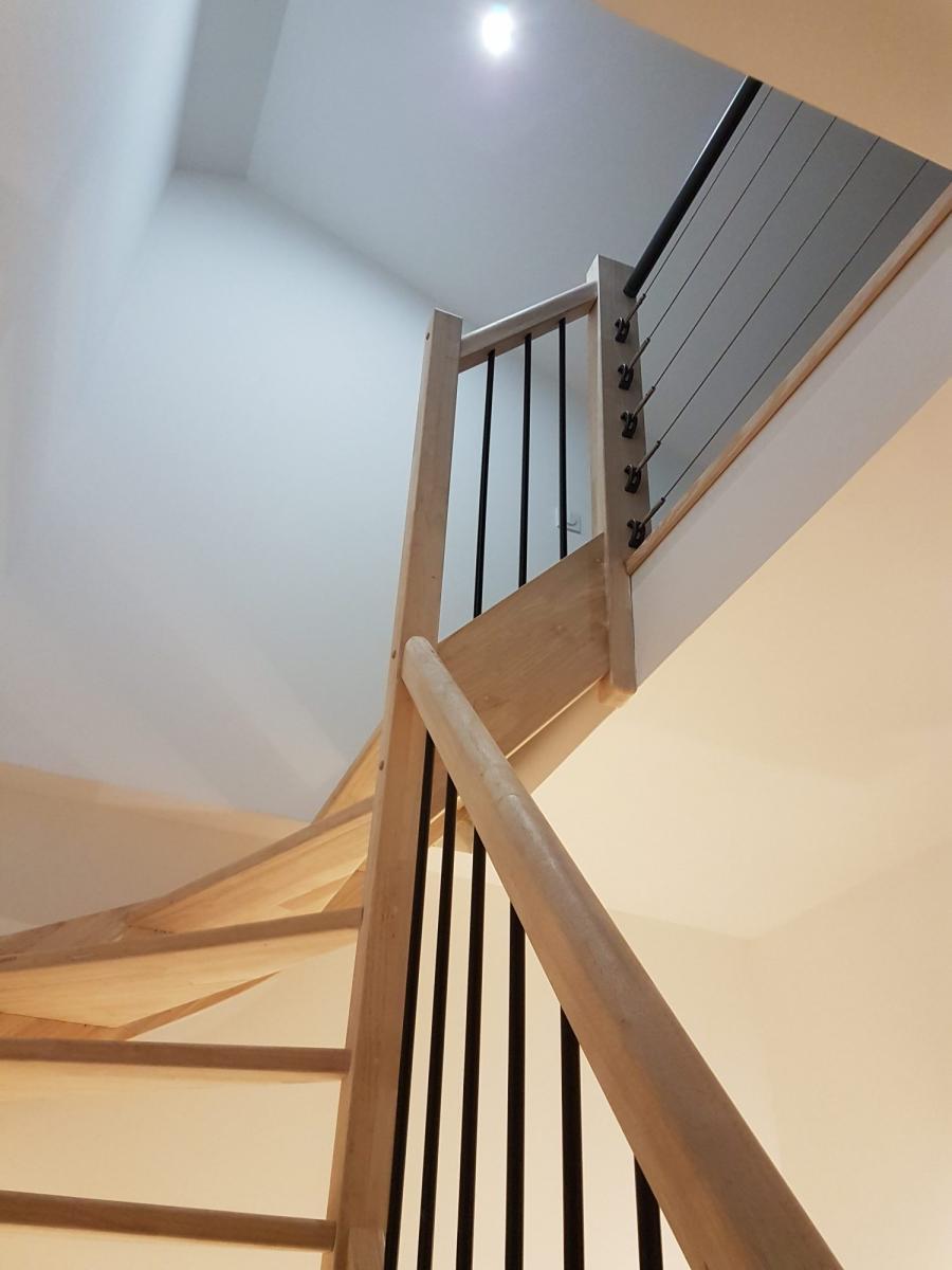Escalier En Bois Avec Rangement escalier quart tournant en bois - ca renovation toulouse