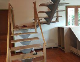 chantier construction escalier en acier