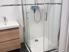 salle de bain moderne avec carrelage et douche