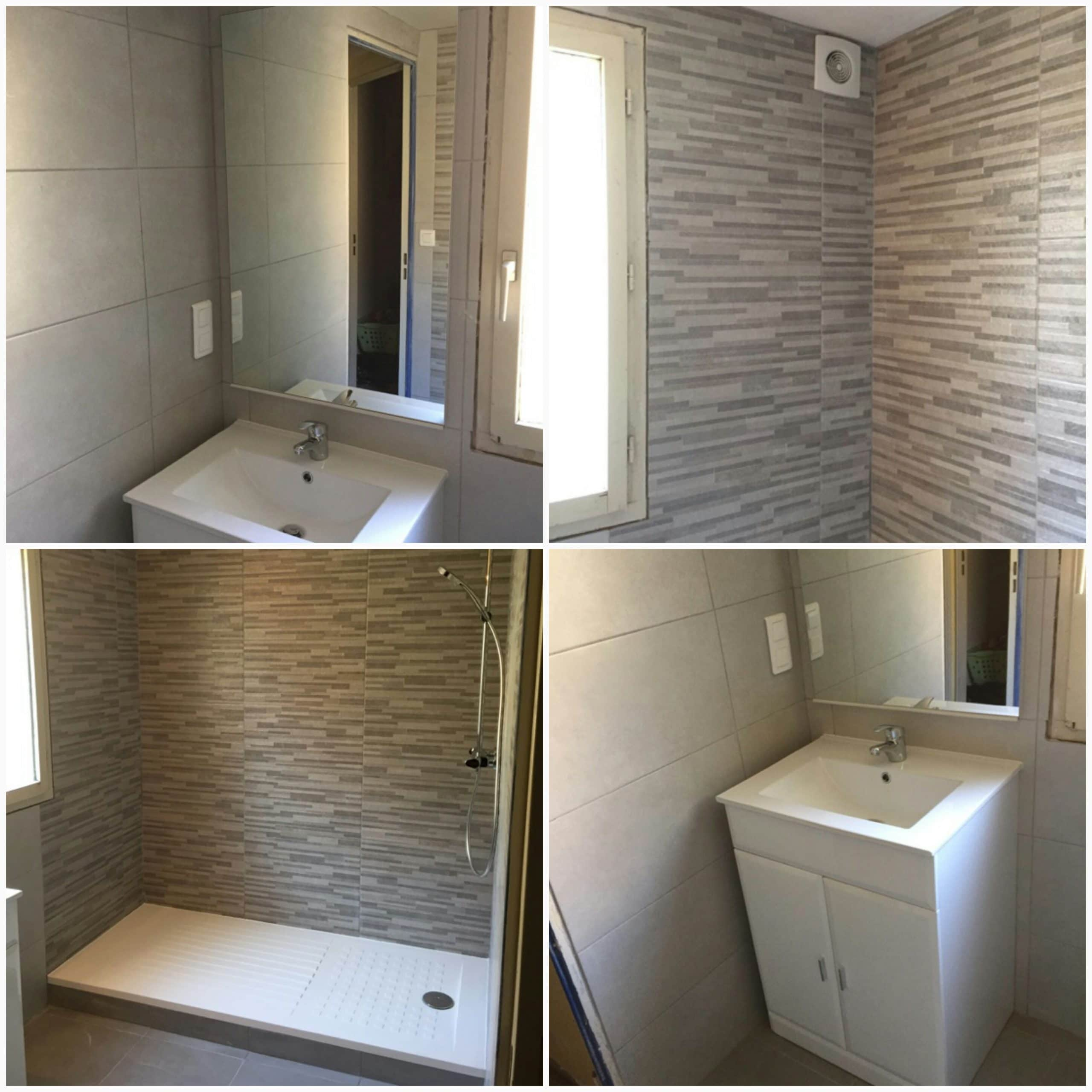 salle de bain design avec mur en pierre